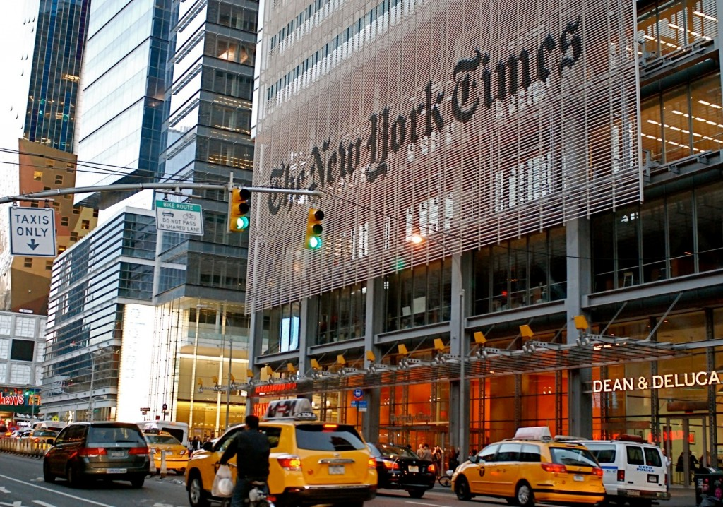 New York Times Building yellow cab